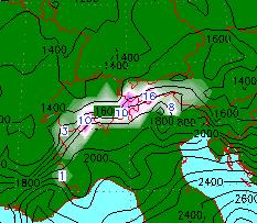 Zondag zorgt een klein lagedrukgebied boven de golf van Genua voor sneeuw op uitgebreide schaal in de Alpen. Bron: wetter3.de