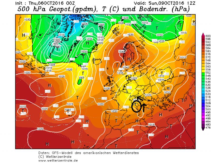 Een klein lagedrukgebied zal zich zaterdag vormen boven de golf van Genua waardoor gevoelig vochtigere lucht naar de Alpen wordt gestuurd. Dit resulteert in sneeuwval welke vooral op zondag intens kan zijn. Bron: wetterzentrale.de