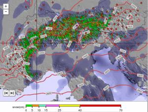Tijdens het weekend valt er mogelijk op uitgebreide schaal sneeuw vanaf een relatief lage sneeuwgrens. Bron: snow-forecast.com