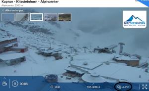 Volop winter in Kaprun nabij de Kitzsteinhorn. Om 18:45 schommelde het kwik daar op 1500 meter rond -7°C. Bron: bergfex.com
