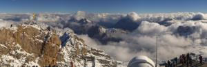 Mooie uitzichten gisteren vanop de Zugsspitze met een laagje verse sneeuw. Bron: bergfex.com