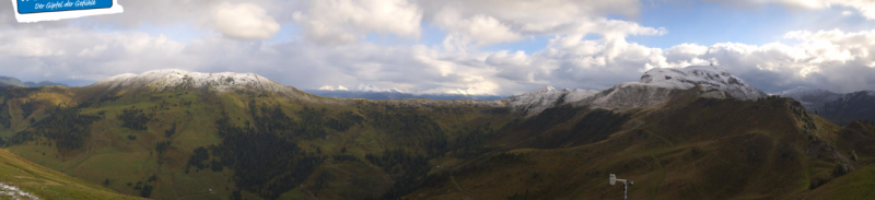 Gisteren viel er wat lichte sneeuw op de toppen van Maria Alm in Oostenrijk alwaar de sneeuwgrens schommelde rond 2000 meter. Bron: bergfex.com