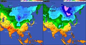 De temperaturen in Rusland en Siberië, het brongebied van onze winter, zijn momenteel nog niet echt laag. Volgende dagen wordt het ook hier wel geleidelijk kouder maar dan wordt de glijbaan naar de Alpen verstoord. Bron: wetteronline.de