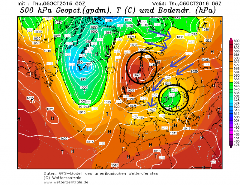 De drukgebieden zijn momenteel zo gelegen dat een koude lucht vanuit het noordoosten helemaal tot de Alpen kan geraken. Bron: wetterzentrale.de