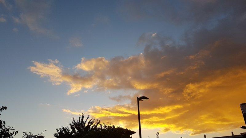Na een kletsnatte nacht, begon de dag gisteren kleurrijk. De foto maakte ikzelf.