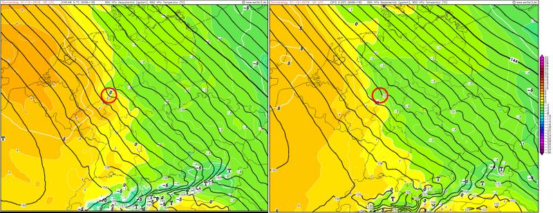 De verschillend tussen de modellen voor middernacht. Rode cirkel ligt rond het Sauerland. Links: Hirlam model, rechts: GFS model. Een verschil van +2 of -2 graden op 850 hPa. Bron: Wetter3.
