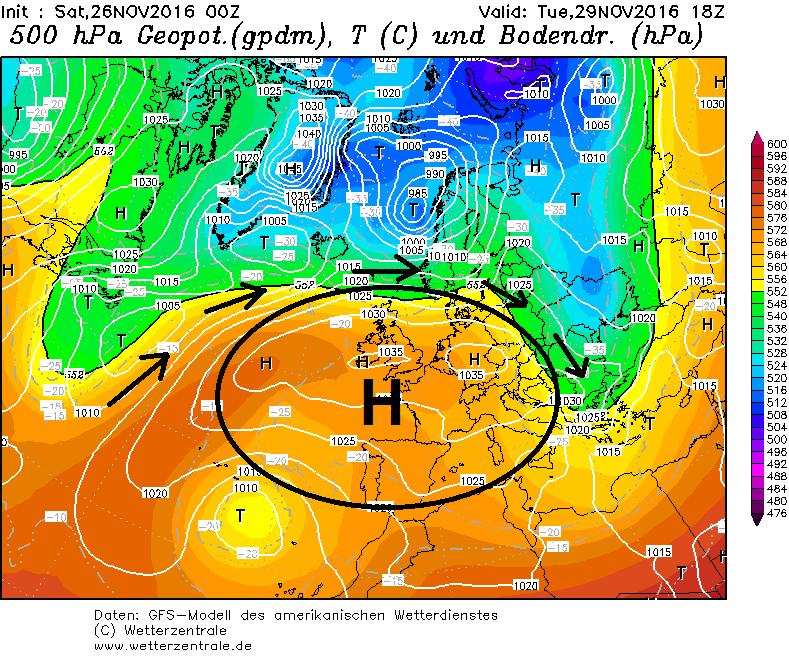 Rustig hogedruk weer boven Centraal-Europa. Regenzone en depressies worden afgebogen tot hogere latitudes. Bron: wetterzentrale.de