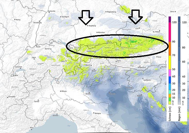 Morgen valt er wat sneeuw in de oostelijke Alpen. De hoeveelheden blijven beperkt. Bron: bergfex.at