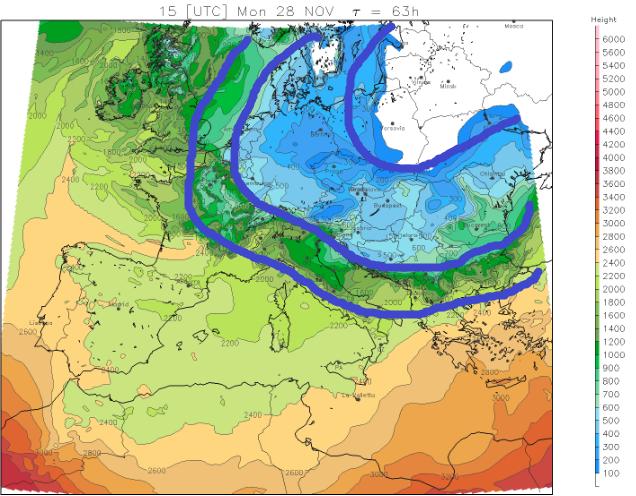 Maandag bereikt zeer koude lucht vanaf het noordoosten de Alpen. De temperatuur gradiënt tussen NO en ZW wordt groot. Bron: meteoliguria.it