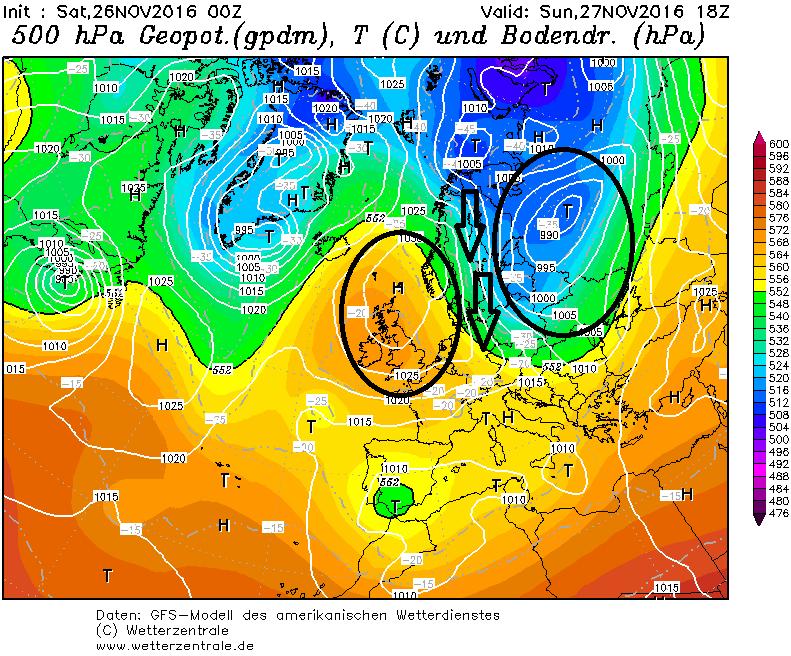 Koude lucht wordt in de loop van morgen geadvecteerd naar de oostelijke Alpen. Bron: wetterzentrale.de