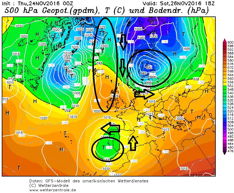 Zaterdag verandert de drukconfiguratie. Het lagedrukgebied boven Biskaje zakt uit naar het zuiden en tegelijk strekt een hogedrukgebied zich uit naar Scandinavië. Bron: wetterzentrale.de
