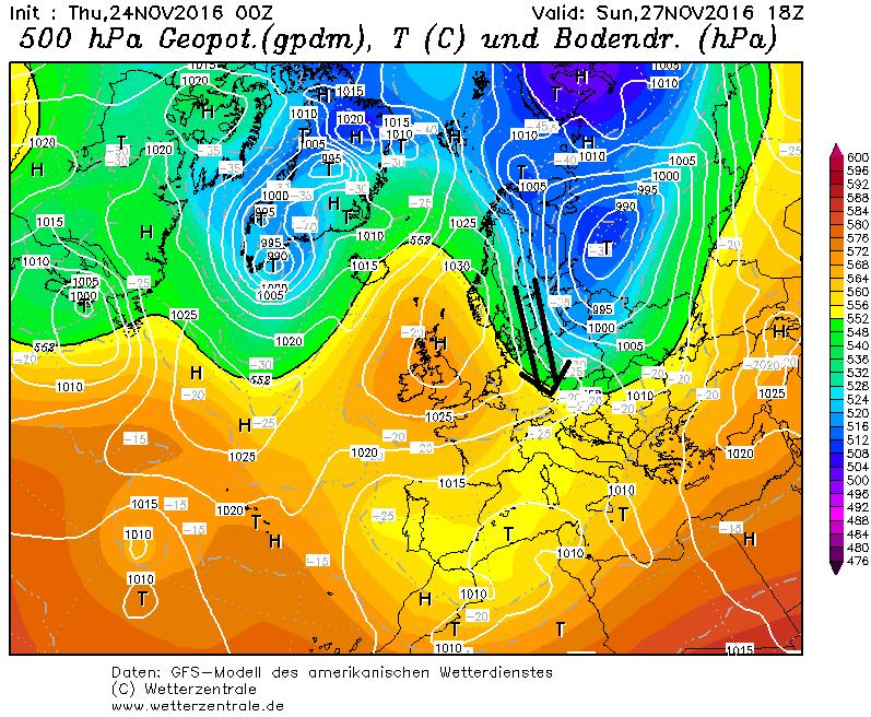 Een winterse druksetting zorgt zondag voor de aanvoer van koude lucht naar vooral de oostelijke Alpen. Bron: wetterzentrale.de