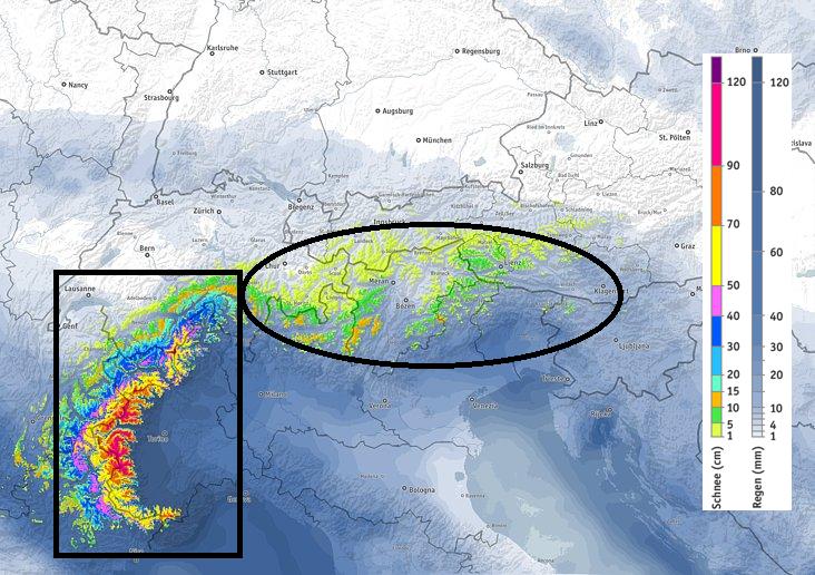 Volgende 48 gaat de sneeuwdump in het zuidwesten onveranderd voort. Vanaf morgen middag kan er ook meer naar het oosten wat neerslag vallen. Bron: bergfex.at