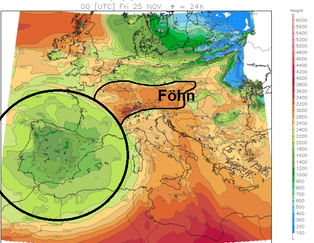 Op deze kaart met de nulgradengrens valt het duidelijk op hoe ene bel met koude lucht zich boven het Iberisch schiereiland bevindt. De föhnzone is ook duidelijk te zien met gevoelig hogere temperaturen. Bron: meteoliguria.it