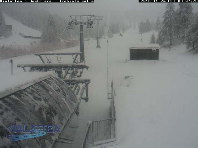 Ook in Sestrière intense sneeuwval momenteel. Bron: bergfex.com