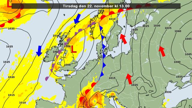 De weerkaart voor vandaag. Bron: DMI
