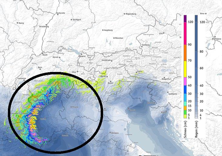 Hoewel de weermodellen nog enigszins verschillen zijn ze het allemaal eens dat het enorm veel gaat sneeuwen en regenen in de westelijke zuid-Alpen. Bron: bergfex.com
