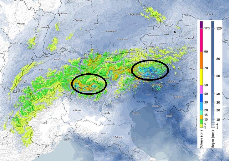 Vandaag trekt een koufront over de Alpen en kan het overal sneeuwen. De meeste neerslag is voor de centrale en oostelijke Alpen. Bron: bergfex.at