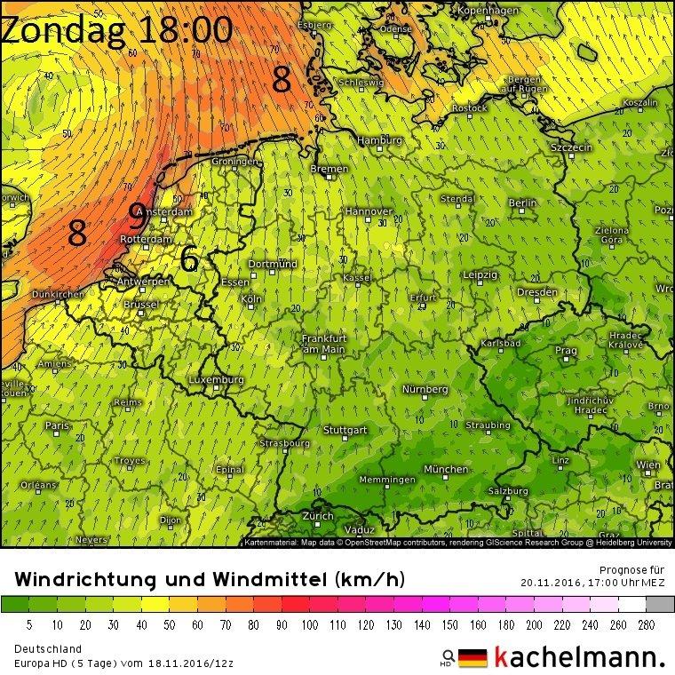 Dit model berekent storm voor zondagavond. Bron: Kachelmannwetter.