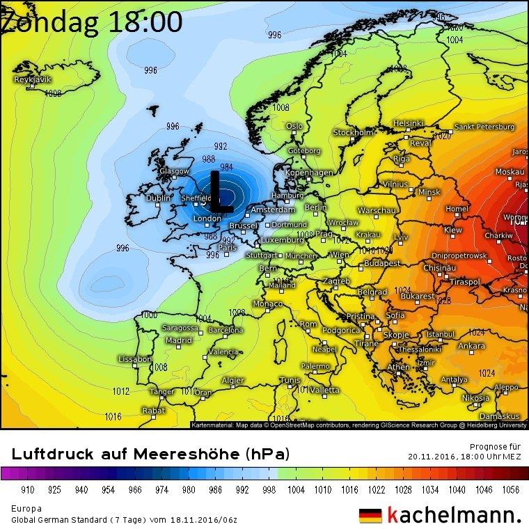 In anderhalve dag weet het lagedrukgebied de Noordzee te bereiken. Kaartje voor zondag 19:00. Bron: Kachelmannwetter.