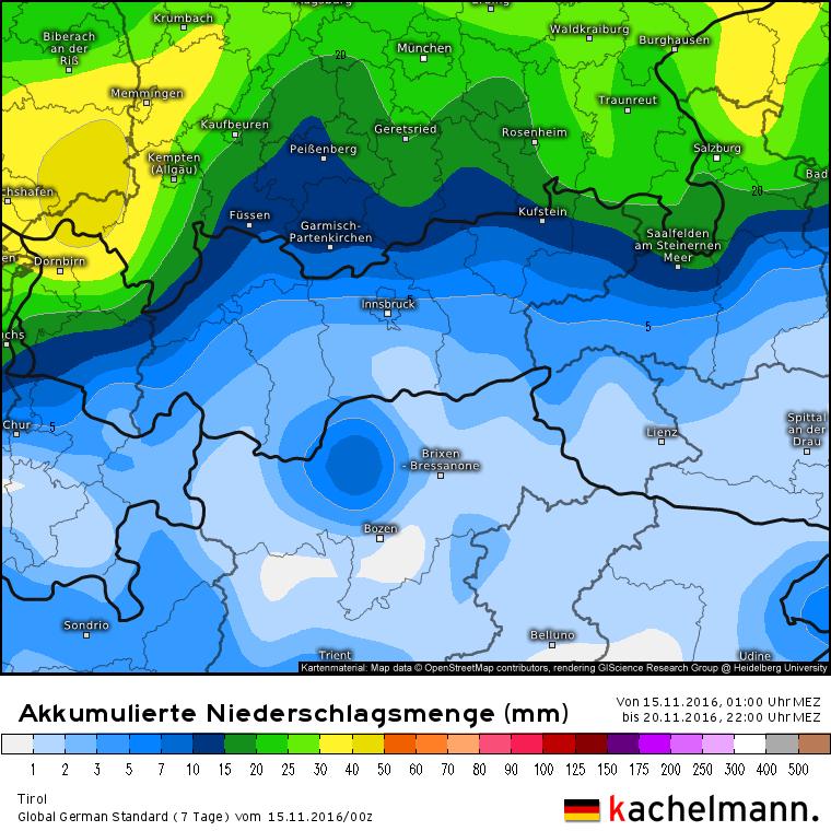 Het Duitse model laat echter de meeste neerslag ten noorden van de Alpen vallen bij een afwezigheid van het Gunea Low. Bron: Kachelmannwetter