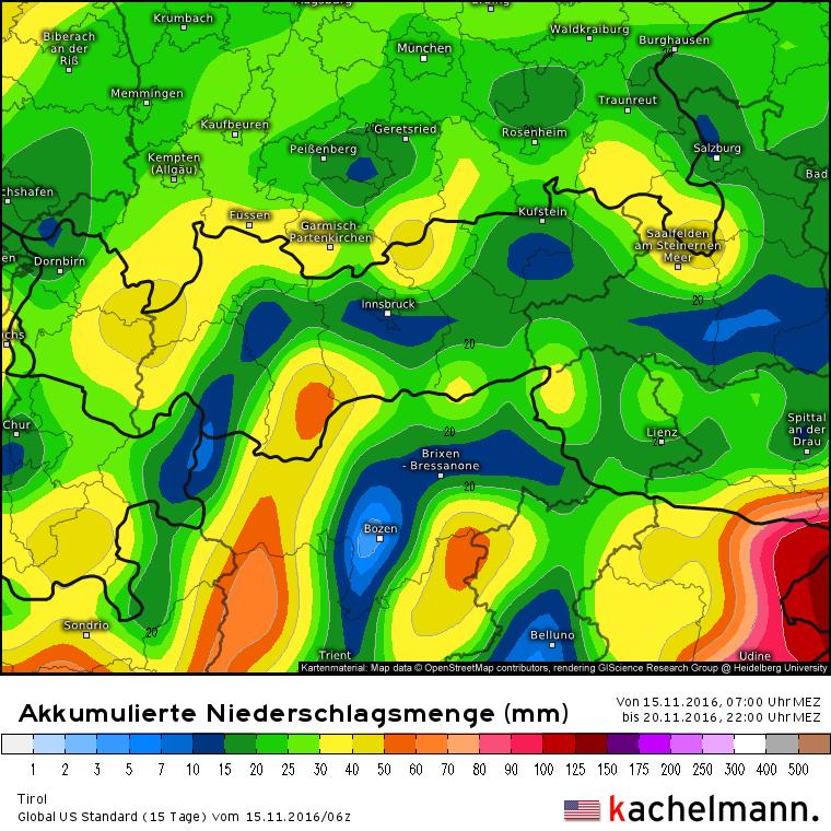Neerslagsom volgens het Amerikaanse model van dinsdagochtend tot zondagavond. Het zwaartepunt van de neerslag lijkt dit weekend in het zuiden van Tirol te vallen. De bijdrage in het noorden is vooral woensdag. Let ook op de rode plek ten zuidoosten van Tirol met waarden rond de 120 mm! Bron:Kachelmannwetter