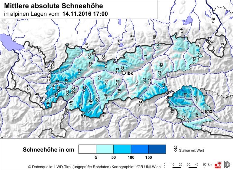 De gemiddelde sneeuwhoogtes van Tirol van maandagavond. Vooral in het westen ligt de meeste sneeuw met gemiddelde waarden tussen de 30 en 50 cm. Het oostelijke deel heeft met waarden tussen de 20 en 35 toch wel minder sneeuw. Op de toppen kan echter meer sneeuw liggen aangezien dit gemiddelde waarden zijn! Bron: LWD-Tirol