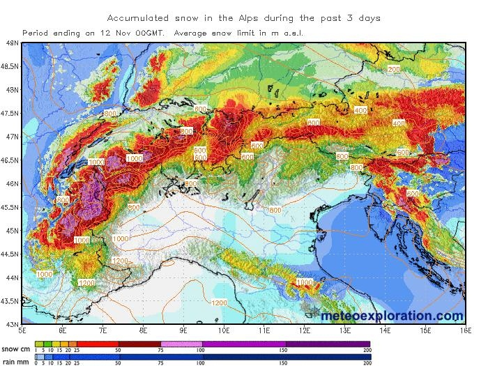 De sneeuwval van 9 tot 12 november. In het westen en centraal zuidelijke deel van Tirol viel de meeste sneeuw. In de regio Zuid Tirol viel uiteindelijk niet zo veel. Bron: Meteoexploration