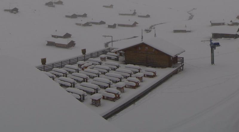 Veel sneeuw ook in Meiringen alwaar de banken volledig bedolven zijn onder het witte goud. Bron: webcam Meiringen