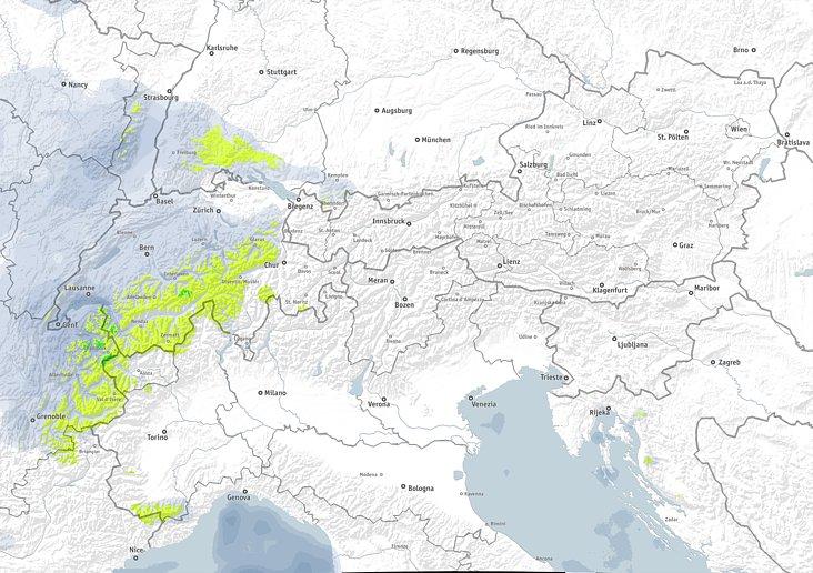 Zondag en maandag valt er wat sneeuw in de westelijke Alpen. De valleien op de kaart zijn duidelijk wat meer ingesneden wat aantoont dat de sneeuwgrens hoger ligt. Bron: bergfex.com