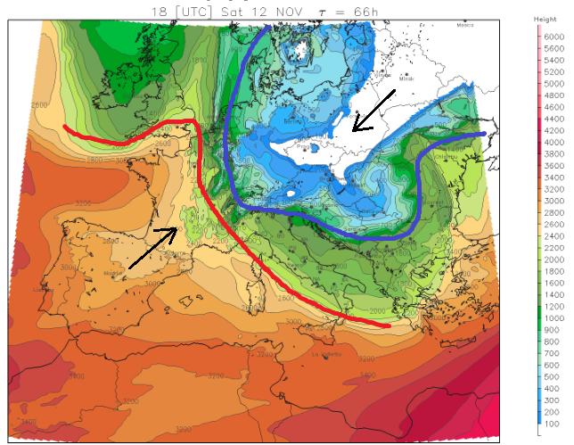 De Alpen komen zaterdag op de scheiding van luchtsoorten te liggen waardoor de temperatuursgradiënt groot wordt. Bron: meteoliguria.it