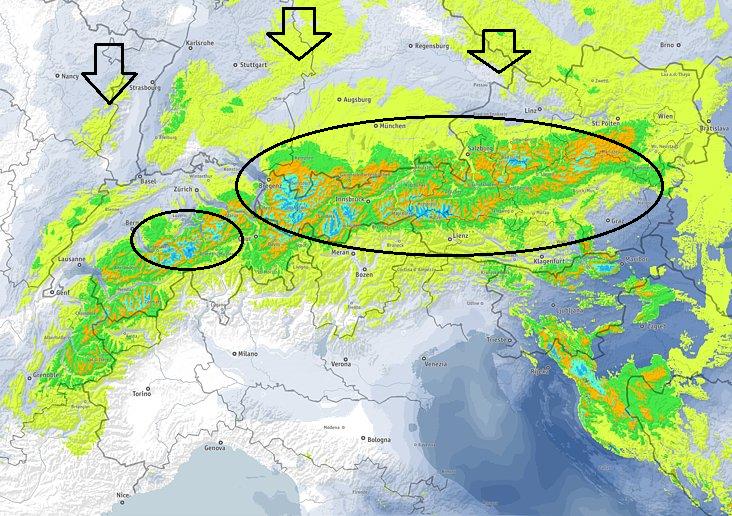 Morgen komt de noordstau volop op gang met opnieuw veel sneeuw aan den Alpen noordkant. Het zwaartepunt van de neerslag verplaatst zich nu meer richting Oostenrijk. Bemerkt dat het ook in het laagland tot sneeuw zal komen en er ook in Kroatië veel sneeuw verwacht wordt. Bron: bergfex.com