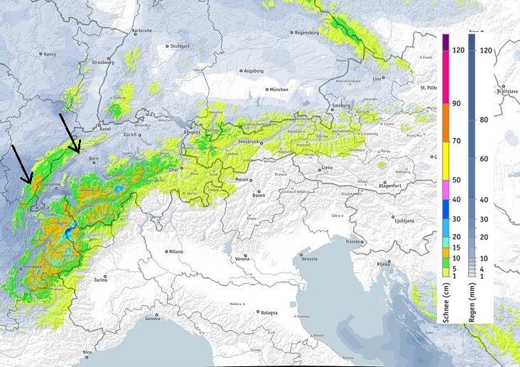 Veel sneeuw in de noordwestelijke Alpen vandaag bij een nog steeds lage sneeuwgrens. Meer naar het oosten valt er minder neerslag, aan de zuidkant blijft het droog. Bron: bergfex.com
