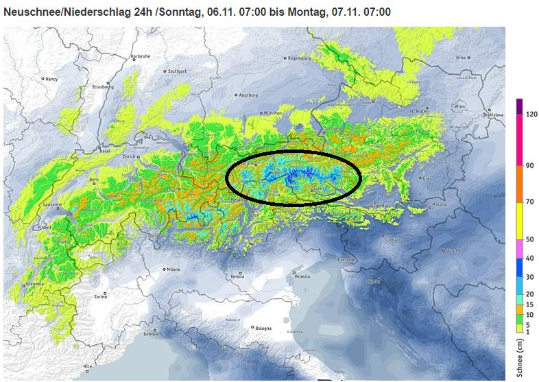 Vandaag valt de meeste sneeuw in de centrale Oostelijke Alpen. Bron: http://www.bergfex.at/schneevorhersage/?t=0_24