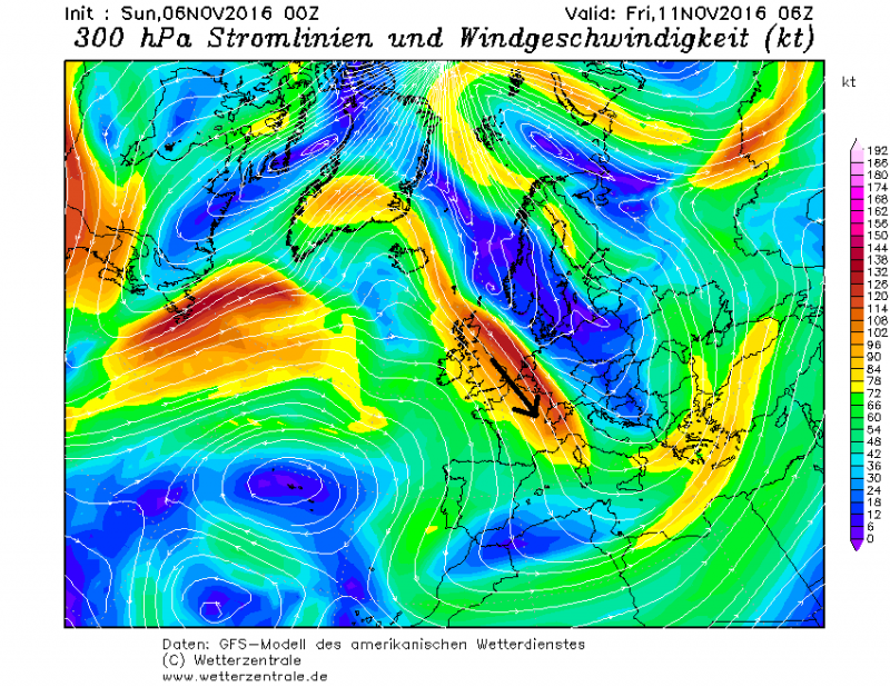 De straalstroom richt zich recht op de Alpen met regelmatig neerslagzones die passeren vanaf woensdag. Bron: wetterzentrale.de
