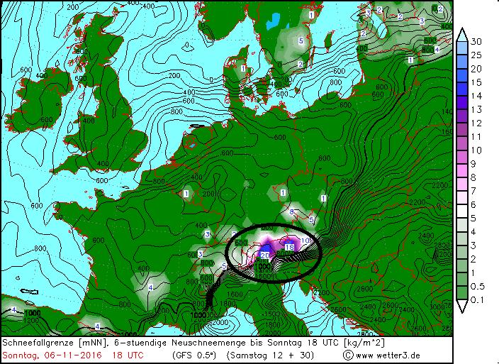 Gisteren viel de meeste neerslag in het westen, vandaag ligt het zwaartepunt in de centrale en oostelijke Alpen. Bron: wetter3.de