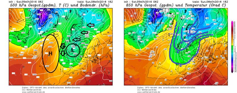 De luchtdruk boven Europa en de Arctic is zo georganiseerd dat erg koude lucht uitstroomt naar de Alpen. Winterweer begin november, het is eens iets anders! Bron: wetterzentrale.de