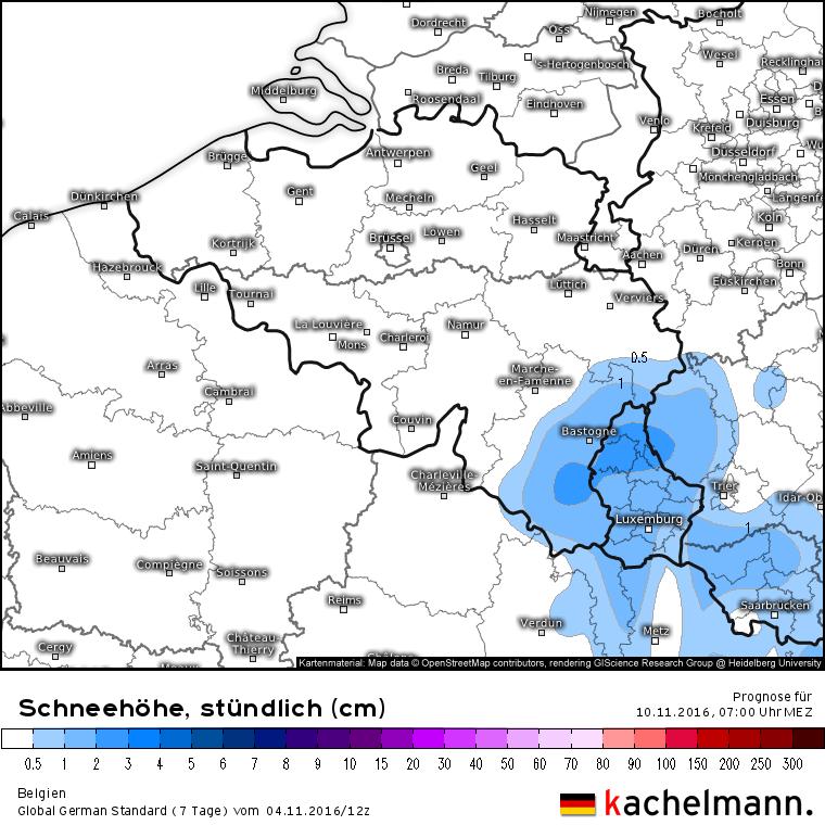 In de Ardennen en Hoge Venen is lokaal wat sneeuw mogelijk en deze sneeuw kan ook blijven liggen. Bron: Kachelmannwetter.com