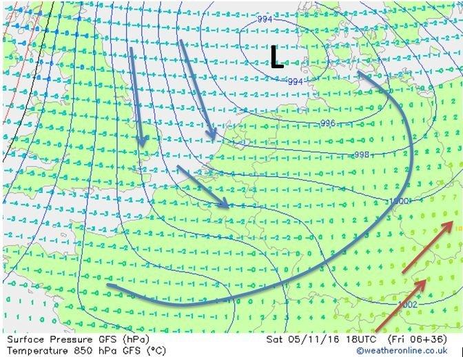 Deze koudere lucht is ook goed te zien op de kaart voor 850 hPa op zaterdag 18:00. De warme lucht verdwijnt richting het oosten en koudere lucht stroomt vanaf het noorden binnen. Bron: Weatheronline