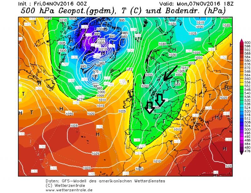 Een op en top winterse weerkaart voor maandag. Een noordelijke glijbaan zorgt voor diepvriestemperaturen in de Alpen. Bron; wetterzentrale.de