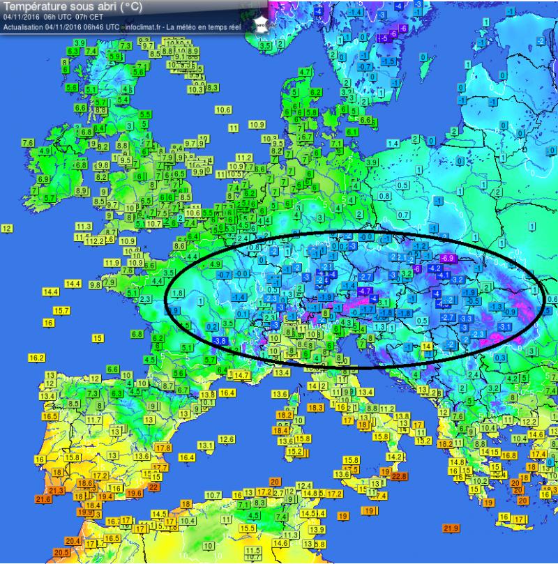 Het is koud deze ochtend in Centraal-Europa met op veel plaatsen vorst. Bron: http://members.home.nl/tianwa/noni/journaal/temperaturen.html