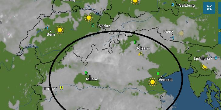 Op veel plaatsen is het al zonnig maar in de zuidoostelijke Alpen domineert de lage bewolking. Bron: wetteronline.de