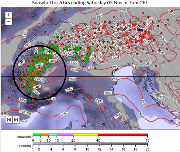 Vannacht arriveert de neerslag vanaf het zuidwesten. In de zuidelijke Franse Alpen kan er al zo'n 20 cm sneeuw vallen boven 2400-2500 meter. Bron; snowforecast.com