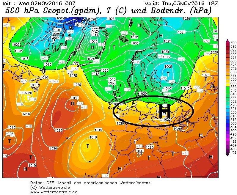 Morgen zorgt een zwakke uitloper van hoge druk voor stabiliserend weer. Het is droog in de Alpen met opklaringen en wolkenvelden. Bron: wetterzentrale.de