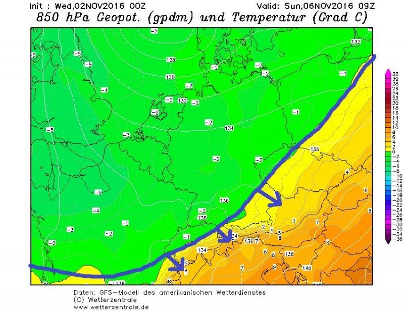 De koude lucht rukt op naar de Alpen op zondag. Bron: wetterzentrale.de
