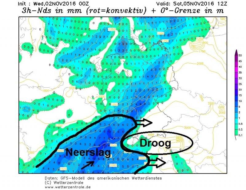 De neerslag rukt gedurende zaterdagvoormiddag snel op vanaf het westen. Enkel in Oostenrijk blijft het dan nog droog. Bron: wetterzentrale.de