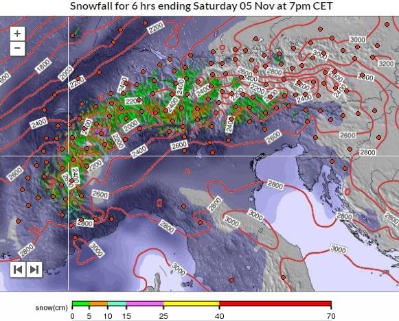 Zaterdag namiddag begint het op steeds meer plaatsen te sneeuwen boven pakweg 2000-2600 meter. Bron: snowforecast.com
