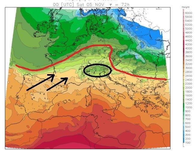 Aan de Alpen zuidkant blijft het wat frisser als gevolg van de koudere lucht die hier nog aanwezig is. Bron: meteoliguria.it