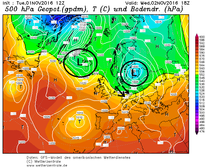 De hoge druk is goed en wel verdwenen uit Centraal-Europa. Lage druk gebieden komen steeds dichter bij. Een lage druk gebied boven de Baltische zee zorgt morgen voor een zwak koufront langs de oostelijke Alpen. Bron: wetterzentrale.de