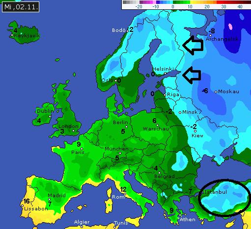 De kou komt vanuit Siberië steeds dichterbij. Volgende dagen koelt het steeds meer af in Europa. Ook opvallen is de vroege winterinval in Turkije. Bron: wetteronline.de